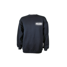 Sweat Shirt blau, Polizei reflektierend